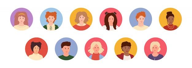 Аватары молодых людей мультяшном стиле установлены. многонациональность стоит перед мужчиной и женщиной. разные народы