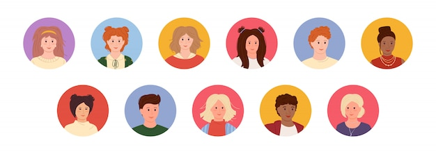 Avatars young people cartoon style set. multi nationality faces man and woman. different nations