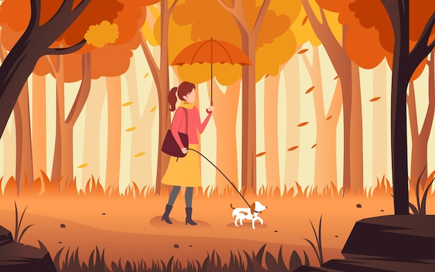 Avector illustration of a flat design drawing about a woman walking with her dog and an umbrella in her hand in the afternoon of autumn.