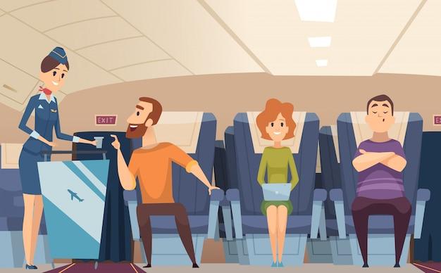 Avia passengers. boarding stewardess offers food to sitting man in airplane board cartoon background