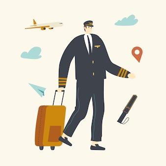 Пилот авиационного экипажа в униформе идет с багажом в аэропорту на фоне летающего реактивного самолета