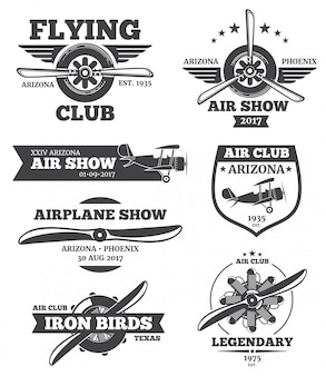 Aviation badges, avia club emblems, airplane logos set. retro plane with propeller, airshow l