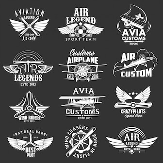 Aviation heraldic icons, isolated  labels