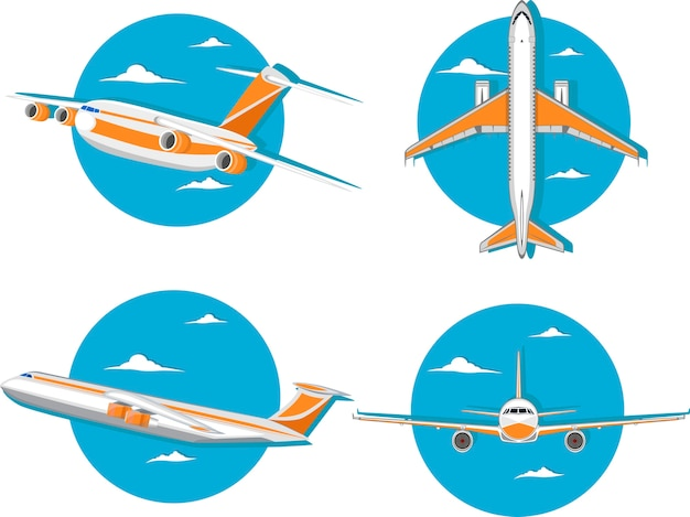 Aviation icon set with jet airplane in sky.