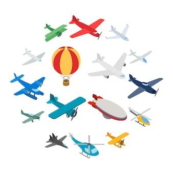 Aviation icons set, isometric 3d style