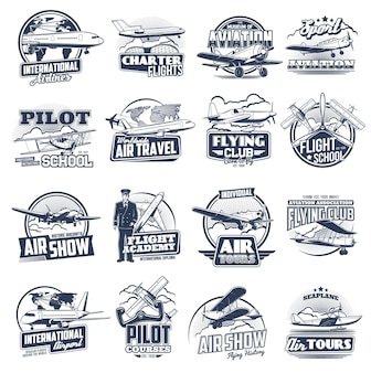 Aviation icons vintage and modern planes. flight school, pilot courses, tours and international airport. flying club, seaplanes and airplane aviation, air show, aviators and fliers labels set