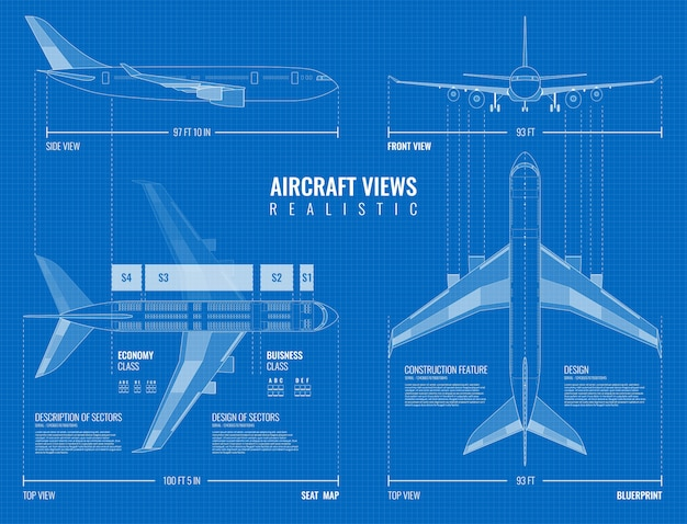 Aviation industrial dimensioned drawing blueprint of outline airplane top side and front views realistic