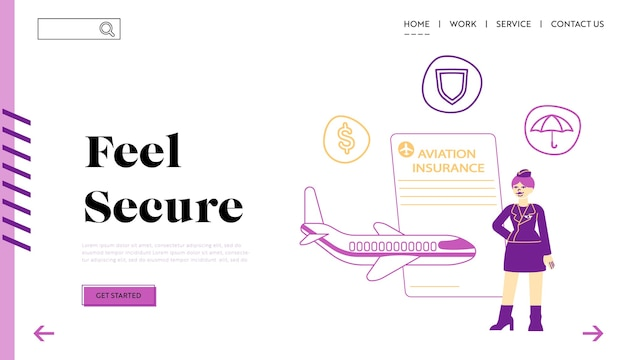 Aviation insurance landing page template