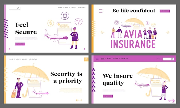 Aviation insurance, life and health protection landing page template set