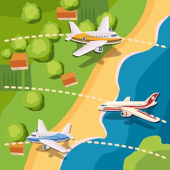Aviation planes top view concept, background cartoon style