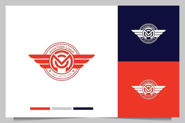 文字mと翼のロゴデザインを備えたモダンな航空ヴィンテージ