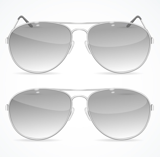 Aviator sunglasses set, classic black color.