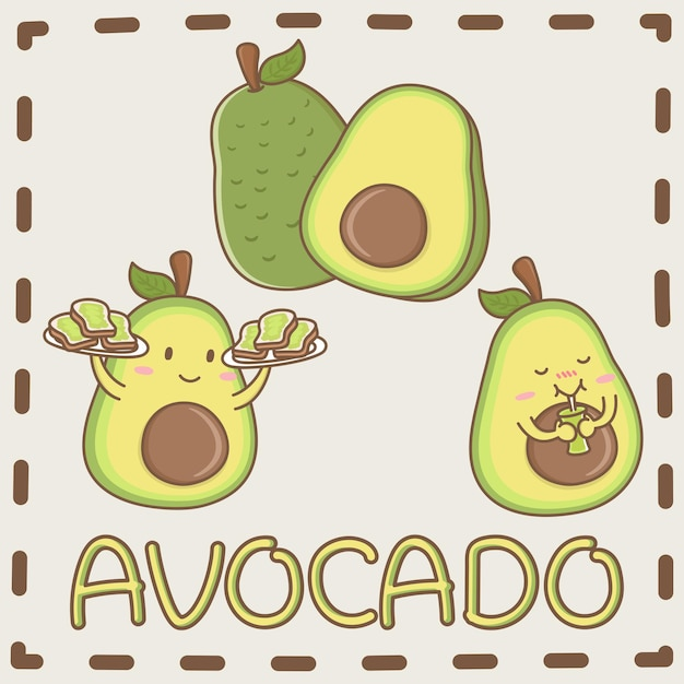 Avocado the best fruit in the entire world design elements vector of cute avocado fruit cartoon