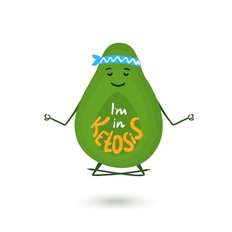Avocado cartoon character is meditating in lotus position. hand drawn lettering i m in ketosis. healthy lifestyle concept.