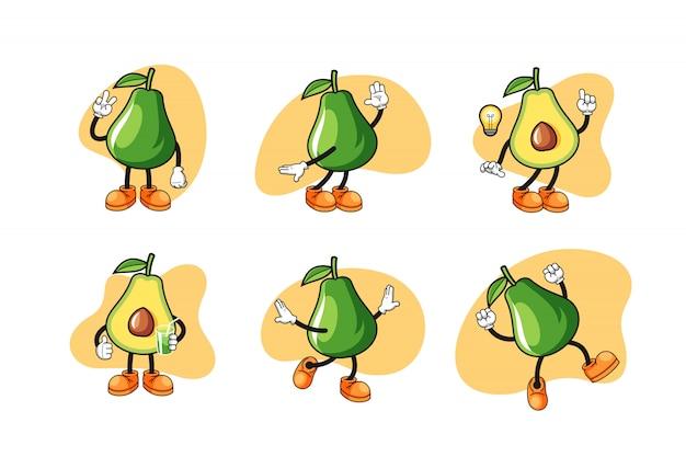 Avocado cartoon character set