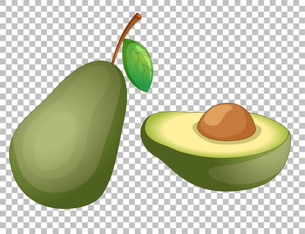 Avocado cartoon on transparent