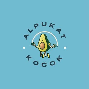 점프 로프 로고를 재생하는 아보카도 캐릭터
