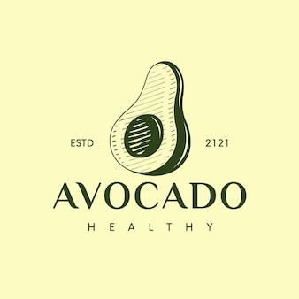 Avocado classic logo template isolated on yellow
