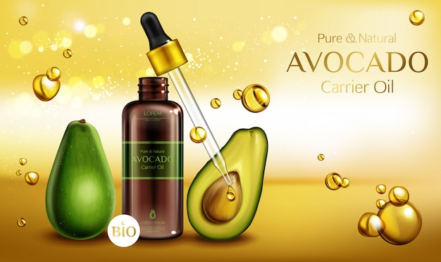 Avocado cosmetics oil. organic beauty product bottle with pipette on blurred with oily drops.