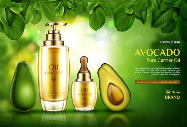 Avocado cosmetics oil. organic product bottles with pomp and dropper on green with tree leaves.