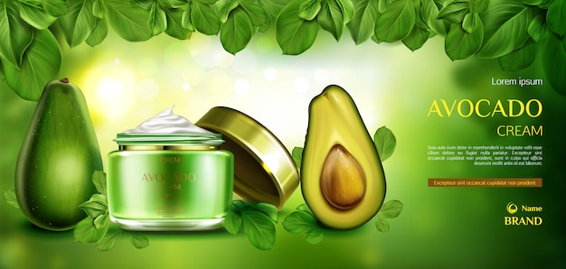 Avocado cosmetics skin care cream.