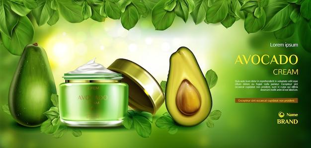Crema cosmetica per la cura della pelle di avocado.