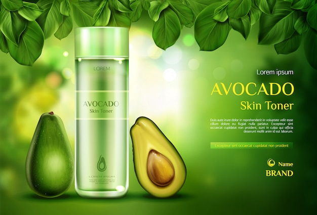 Avocado cosmetics skin toner. organic beauty product bottle on green blurred with tree leaves.