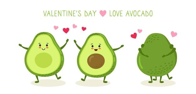 Avocado couple hug, dance and love