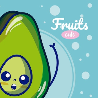 Avocado cute fruits cartoons