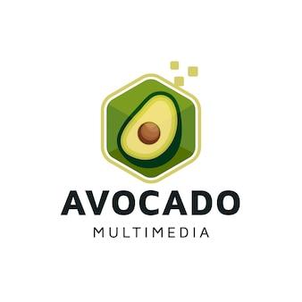 Дизайн логотипа цифровой куб авокадо