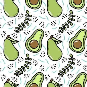 Avocado doodle seamless pattern