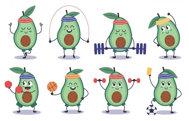 アボカドフィットネス。面白い落書きアボカドキャラクターはスポーツ、瞑想、サッカー、スポーツアボカドマスコットイラストアイコンセットを行います。アボカドの漫画の食べ物、健康的なフィットネスフルーツ