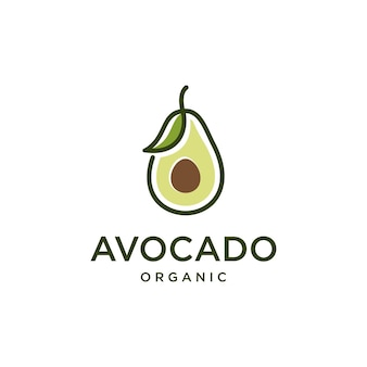 Avocado fruit logo with leaf line art vector design template