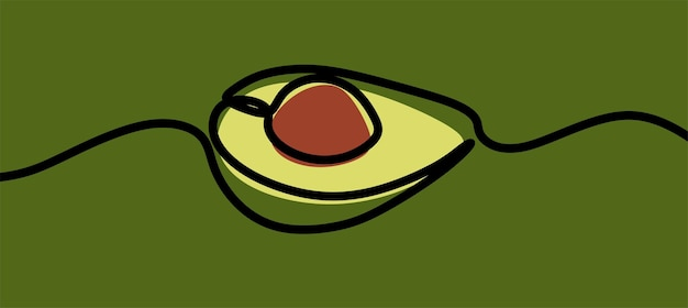 Avocado fruit oneline continuous line art premium vector