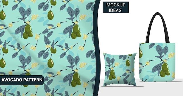 Фрукты авокадо, растения и цветы бесшовный фон