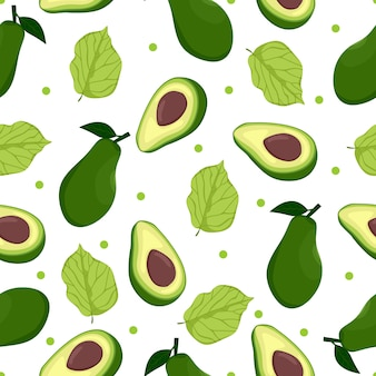 Avocado fruit seamless pattern