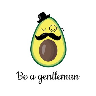 Avocado gentleman with hat and moustache, vector illustration