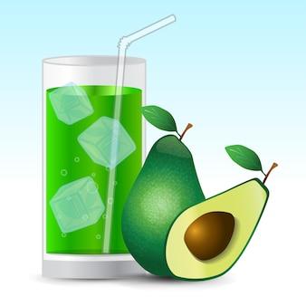 Напиток с соком авокадо в стакане