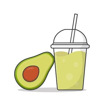 テイクアウトのプラスチックカップのイラストでアボカドジュースまたはミルクセーキ。