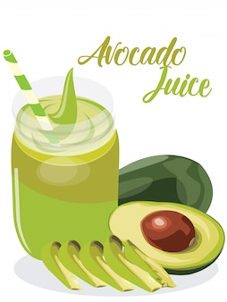 Avocado juice in white background