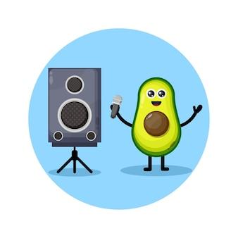 Avocado karaoke cute character logo