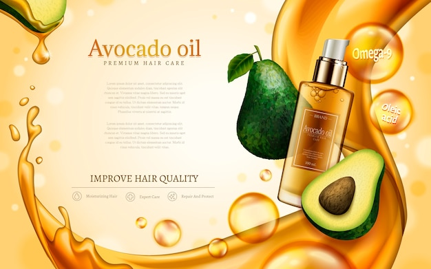 Avocado oil contained in cosmetic bottle, with avocado and golden oil elements