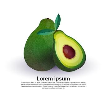 흰색 배경, 건강 한 라이프 스타일 또는 다이어트 개념, 신선한 과일에 대 한 로고에 아보카도