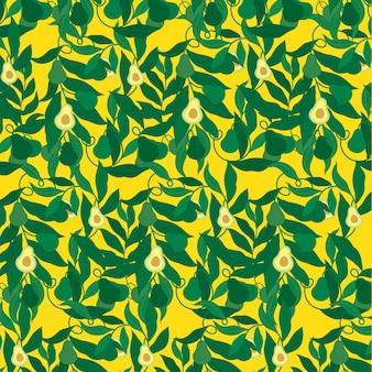 黄色の背景の飾りパターンにアボカド