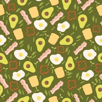 Avocado pattern bacon fried eggs