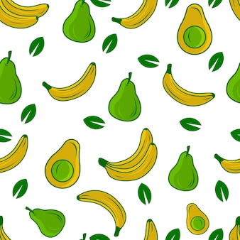 Avocado, pears and banana fruit seamless pattern vector