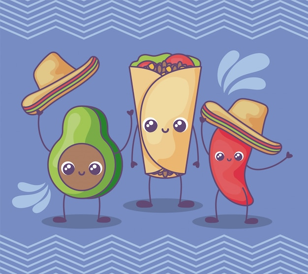 Avocado and pepper with mexican hat kawaii