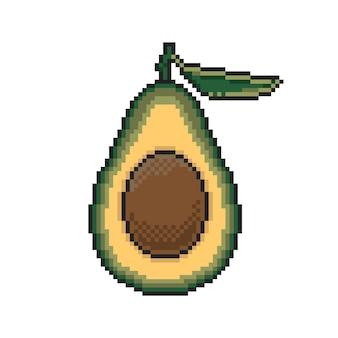 Avocado pixel art on white background