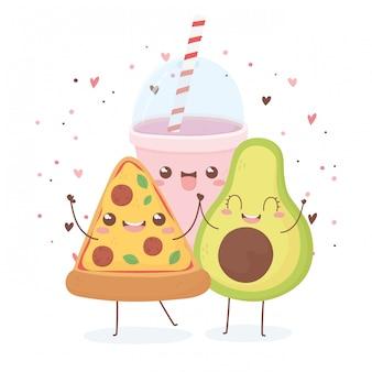 Авокадо пицца и сода каваи еда дизайн персонажа из мультфильма