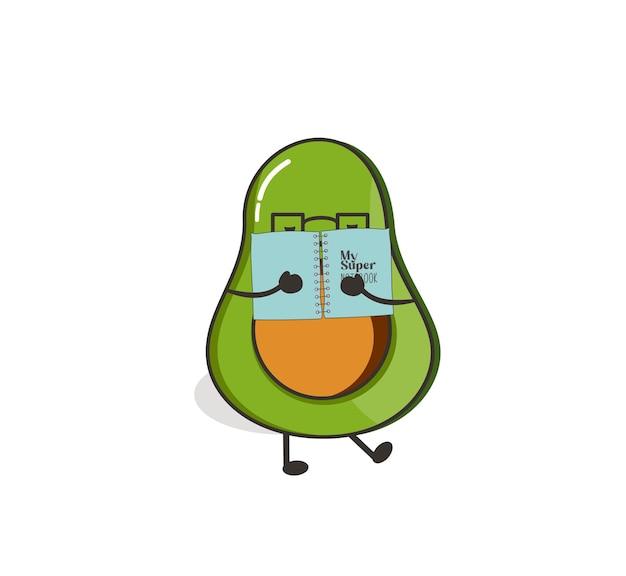 Avocado reading love cute kawaii